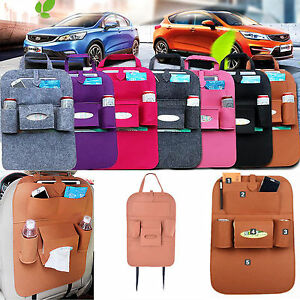 Auto Car Storage Multi Use Pocket Organizer Car Seat Back Bag Accessories Brown