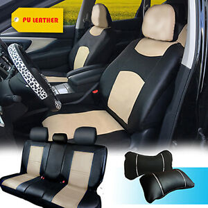Pu Leather Full Car Seats Front Rear Compatible To Buick 1559 Black tan