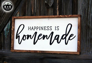 Large Sign Happiness Is Homemade Farmhouse Distressed Primitive Rustic Kitchen