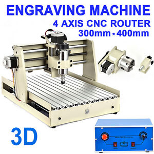 4 Axis 400w Cnc Router 3040 Engraver Engraving Wood Milling Drill Machine Mach3