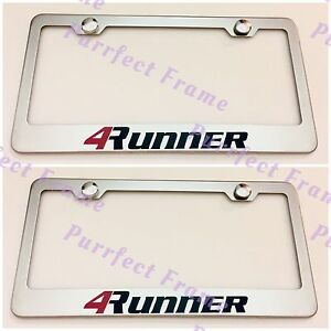 2x 4runner Toyota Stainless Steel License Plate Frame Rust Free W Bolt Caps