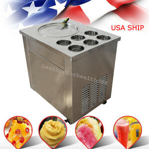 Commercial Fried Ice Cream Machine 1pan 6box Ice Cream Roll Quick Make us Ship