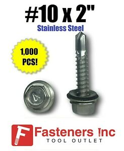 1000 10 X 2 Stainless Steel Roofing Siding Screws Hex Washer Head Tek Epdm
