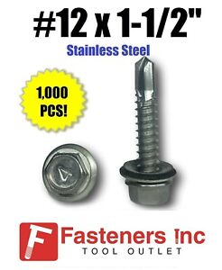 1000 12 X 1 1 2 Stainless Steel Roofing Siding Screws Hex Washer Head Tek Epdm