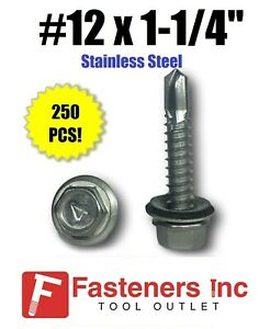 250 12 X 1 1 4 Stainless Steel Roofing Siding Screws Hex Washer Head Tek Epdm