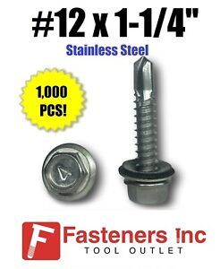 1000 12 X 1 1 4 Stainless Steel Roofing Siding Screws Hex Washer Head Tek Epdm