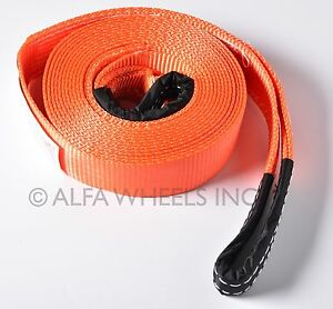 2 14 000 Lbs Tow Strap 30 Ft Winch Sling Snatch Vehicle Recovery Free Ship