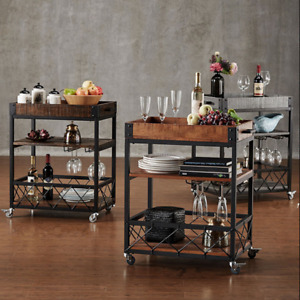 Commercial 3 tier Cart Wood Iron Restaurant Buffet Home Kitchen Utility W Wheel