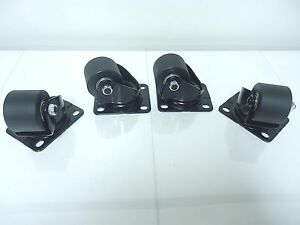 Set Of 4 New Super Heavy Duty Caster Set Wheels Casters Dolly Casters 1200 Lb