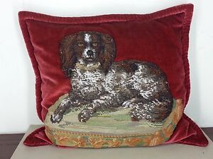 Outstandng Antique Victorian Bead Work Needle Work Cavalier King Charles Spaniel