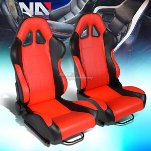 Black red Reclinable Pvc Leather Square Style Racing Seats W universal Sliders