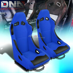 Blue Base black Bolster Fixed Position Fabric Racing Seats W universal Sliders
