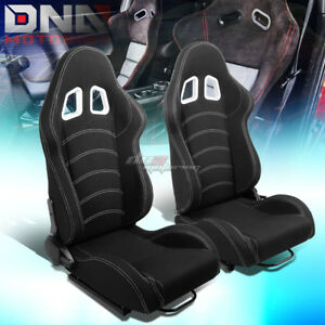 Black double Stitch Reclinable Woven Fabric Type r Racing Seats Universal Slider