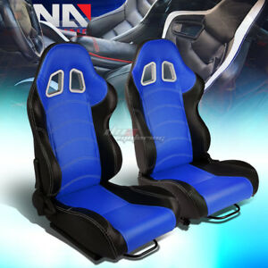 Blue black Sides Reclinable Pvc Leather Type r Racing Seats W universal Sliders