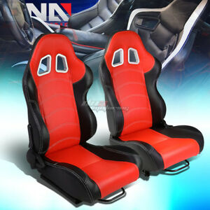 Red Black Sides Reclinable Pvc Leather Type R Racing Seats W Universal Sliders