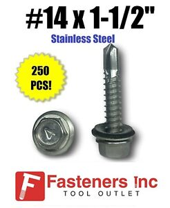 250 14 X 1 1 2 Stainless Steel Roofing Siding Screws Hex Washer Head Tek Epdm