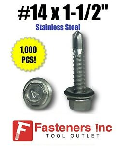 1000 14 X 1 1 2 Stainless Steel Roofing Siding Screws Hex Washer Head Tek Epdm