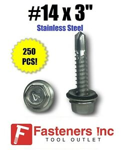 Qty 250 14 X 3 Stainless Steel Roofing Siding Screws Hex Washer Head Tek Epdm