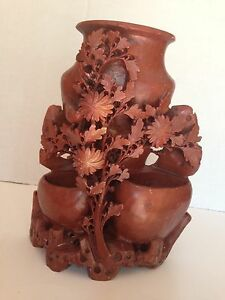 Antique Chinese Carved Stone Vase Bird Flowers Large 9 X 7 5lbs