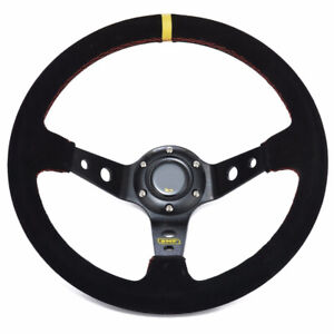 1x 350mm 13 8inch Deep Dished Sport Racing Suede Alloy Steering Wheel 14025