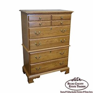 Solid Oak Chippendale Style Tall Chest On Chest