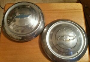 Chevrolet Pair Chrome Dog Dish Hub Cap 1952 1953 Original Chevy Muscle Car 10