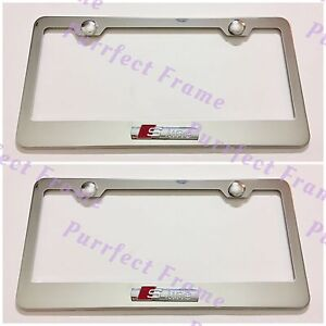 2x Audi S Line 3d Emblem Stainless Steel License Plate Frame Rust Free W cap