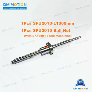 Sfu2010 Rm2010 1000mm Rolled Ball Screw With Sfu2010 Ball Nut Cnc Part Aixs