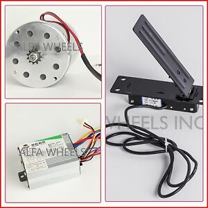 500 W 24 V Dc Electric 1020 Kart Motor Kit W Speed Control Foot Pedal Throttle