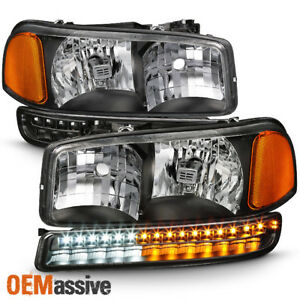 Fit 1999 2006 Gmc Sierra Yukon Xl Black Headlights Led Bumper Signal Lights Lamp