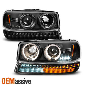 Fits 99 06 Gmc Sierra Yukon Black Halo Projector Head Lights Led Bumper Lights