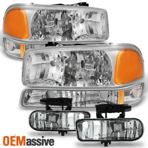Fit 1999 02 Gmc Sierra 99 06 Yukon Xl Chrome Headlights Bumper Lamps Fog Lights