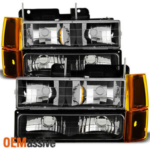 Fit 1994 99 Gmc C k Pickup Suburban Sierra Black Headlights bumper corner Lights