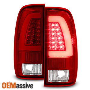 Fit 1997 2003 Ford F150 1999 2007 F250 F350 Red Clear Led Tube Tail Lights Lamps