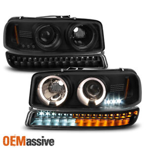 For 1999 2006 Gmc Sierra Yukon Black Smoked Halo Head Lights Led Bumper Lights