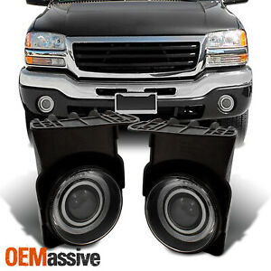 Fit Smoked 03 06 Gmc Sierra Halo Projector Fog Lights Lamps switch bulbs L r