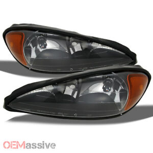 Fit 1999 2005 Pontiac Grand Am Black Headlights Replacement 2000 2001 2002 2003