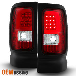 Fit 1994 01 Dodge Ram 1500 2500 3500 Red Clear Led Tube Tail Lights Replacement