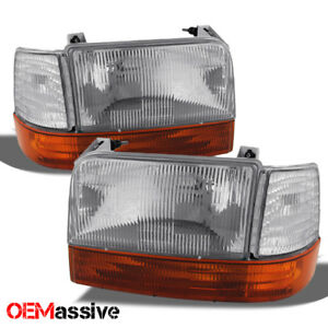 Fit 92 96 Ford Bronco F150 F250 F350 Replacement Headlights Amber Bumper Corner