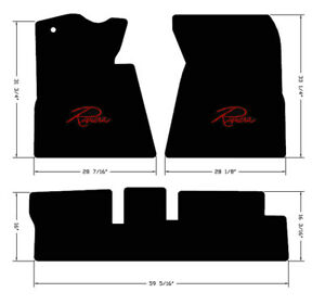New 1966 1970 Black Front Floor Mats Buick Riviera Embroidered Logo Red 3pc Set