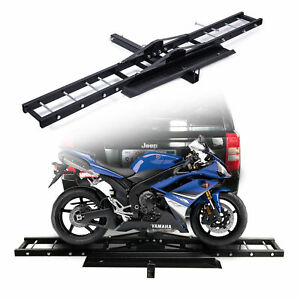76 Trailer Hitch Motorcycle Carrier Rack Hauler W Loading Ramp Durable