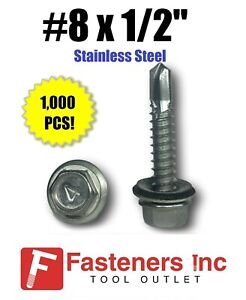 1 000 8 X 1 2 Stainless Steel Roofing Siding Screws Hex Washer Head Tek Epdm