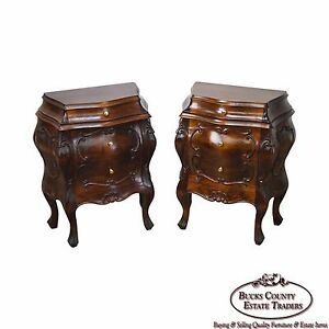 Quality Vintage Pair Of Italian Walnut Small Bombe Commode Chests