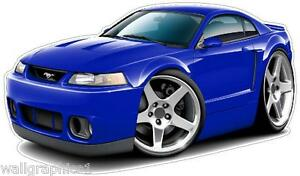 1999 2004 Ford Mustang Svt Cobra 4 6 Engine Cartoon Cars Wall Decals Graphics