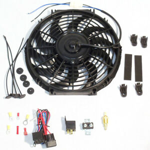 12 Electric Curved Blade Reversible Cooling Fan 12v 1400cfm Thermostat Kit