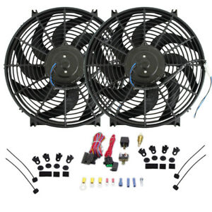 Dual 14 Heavy Duty Curve S Blade Electric Radiator Cooling Fan