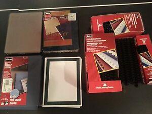 Set Off Ibico Plastic Binding Combs Black Covers back Front And Title Pages