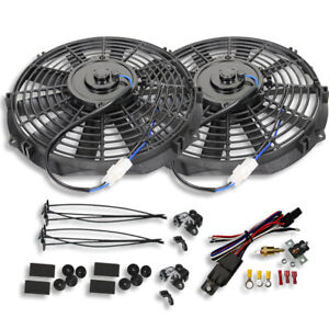 Dual Electric 10 Straight Blade Cooling Radiator Fans 12v With Thermostat Kit