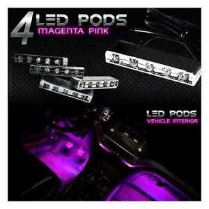 Pink 5 Led Pod Neon Under Glow Accent Light Kit For Motorcycle Car Boat Truck