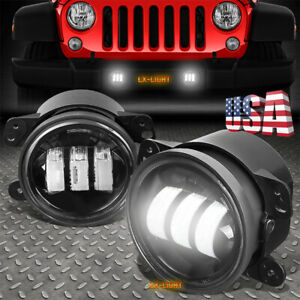 Pair 4 60w Osram Led Fog Light 6000k White Light For Jeep Wrangler Jk 2007 2017
